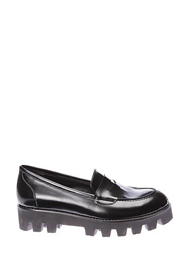 İnci İnci Kadın Deri Siyah   Düz Ayakkabı Siyah